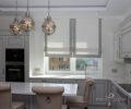 Римские шторы на белой кухне 01
